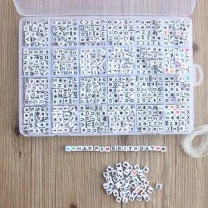 Image 3 - 1200 шт. кубические Акриловые Бусины, буквы для детей, сделай сам, ожерелье, браслеты, материал из бисера, пластиковые бусины с буквами, набор коробок