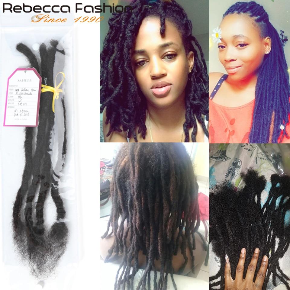 Rebecca Goddess Faux Locs Crochet Hair Soft End Natural Human Remy Hair Braids Brown Extension Afro Kinky Hair Locs  12-20 inch