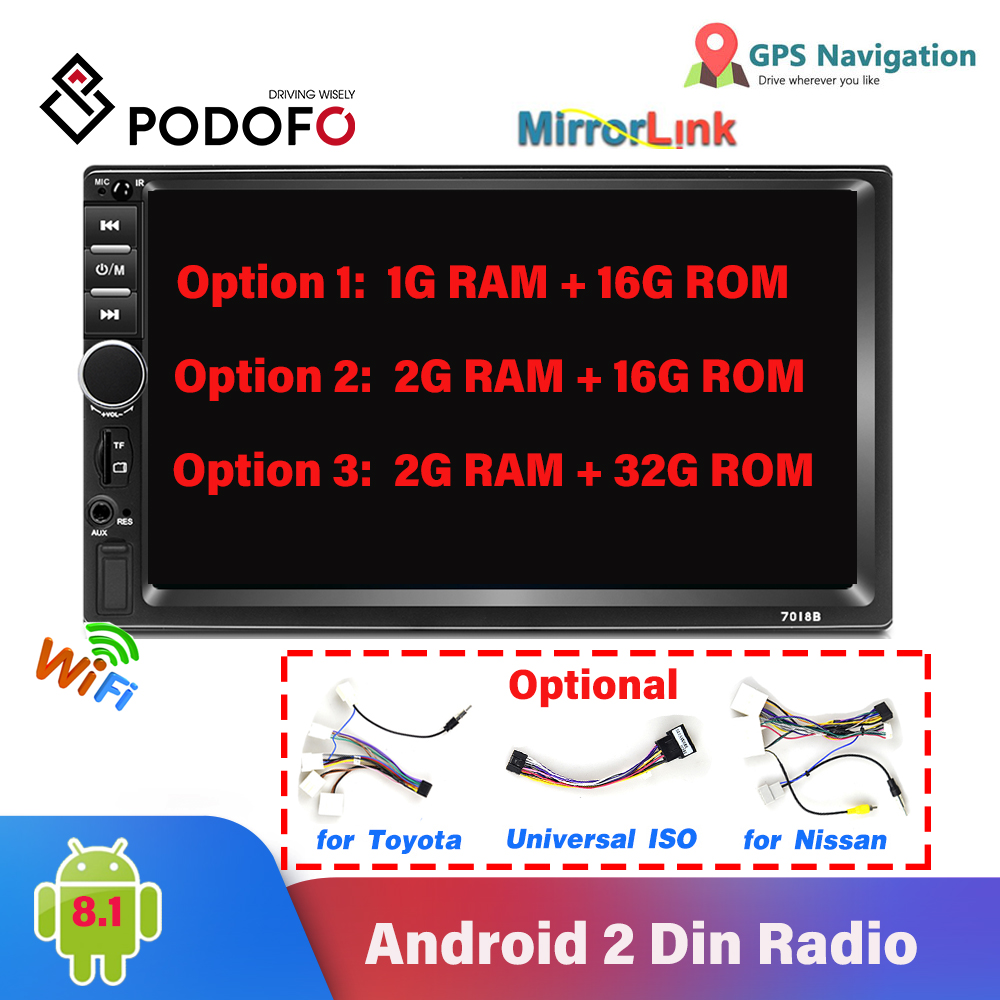 Podofo Android 2 Din Car Radio 7 Inch GPS Navigation WIFI Mirrorlink Stereo USB TF Bluetooth Rear Camera MP5 Multimedia Player image