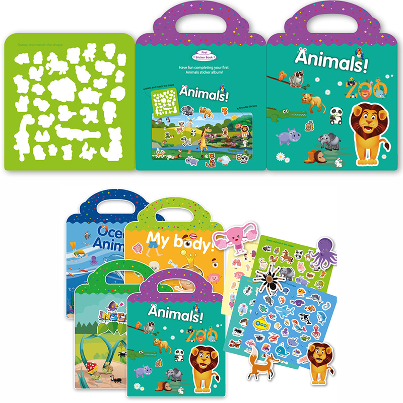 Children Stickers Books Reusable Scenes Stickers Puzzle Game DIY Cartoon Stickers Learning Education Toys For Children Kids Gift