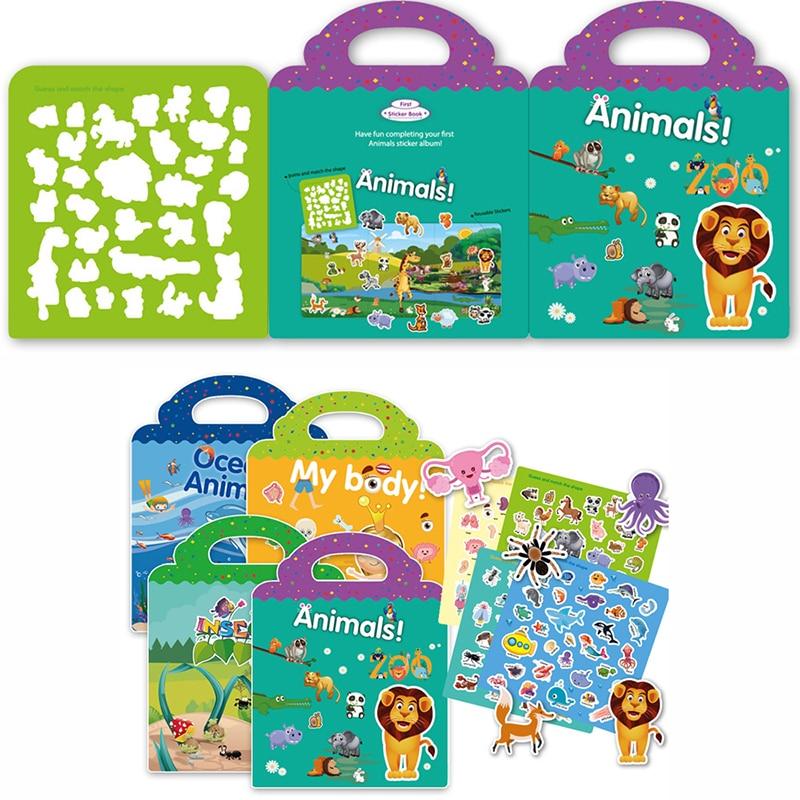 Детская Стикеры для книг Многоразовые сцены наклейки игра-головоломка