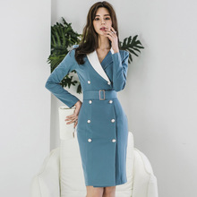 Big Size Double Button OL Office Work Dress for Women Women with Sashes Autumn Dress Long Sleeve Midi Contrast Blue Dress Women large size print plaid autumn winter dress women with sashes double button mini wrap dress women long sleeve office work dress