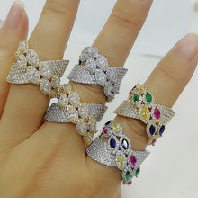 GODKI Luxury Bagutte Cut Bold Rings with Zirconia Stones 2020 Women Engagement Party Jewelry High Quality