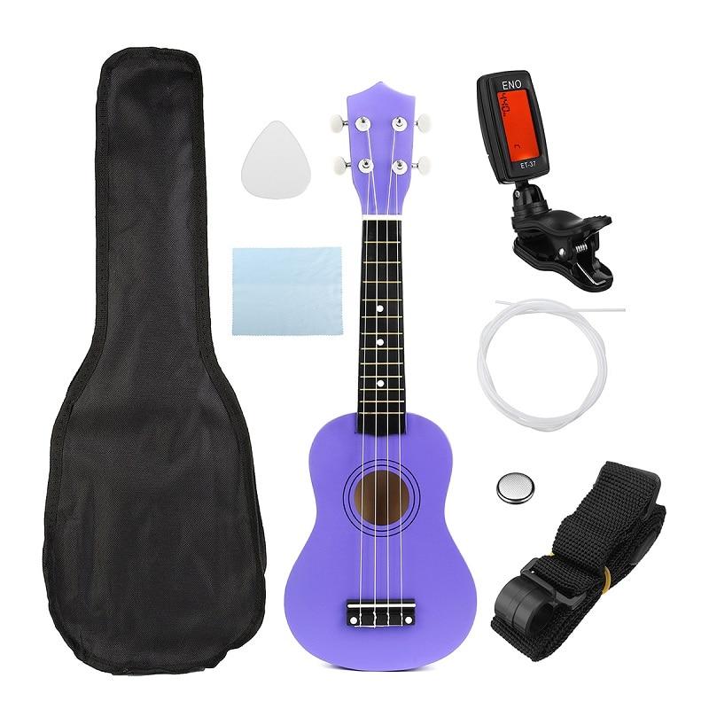 21 Inch 12 Fret Soprano Ukulele Hawaii Bass Beginner Stringed Musical Instrument Ukelele With Gig Bag+Tuner+Strings+Pick+Strap