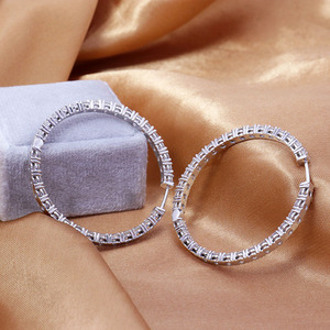 Image 5 - 3mm Round Brilliant H&A Cut EF Color White Moissanite Solid 14K White Gold Hoop Earrings for Women 6CTW 60pcs