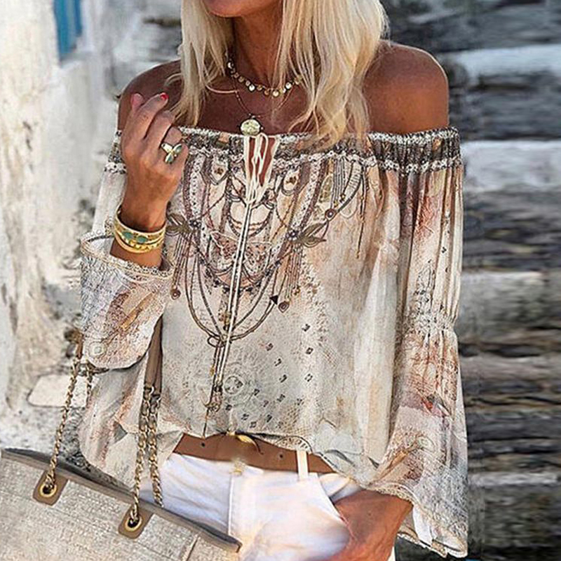 2020 Boho Blouse Elegant Floral Print Flare Sleeve Shirt Sexy Lace-up Tassel Off Shoulder Women Tops Spring Summer Chic Blouses