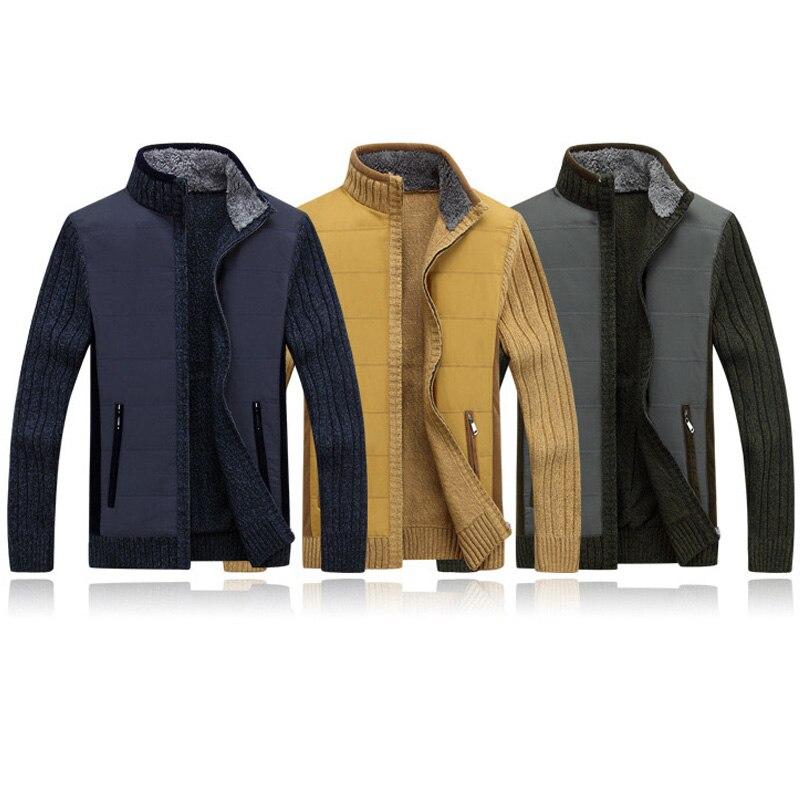 Automne hiver chandail hommes Patchwork coupe-vent épais chaud polaire Cardigan hommes col montant laine Liner hommes chandails - 5