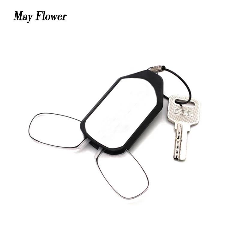 Мини зажим для носа очки для чтения без оправы цепочка для ключей бумажник увеличительное дальнозоркости очки с Чехол Портативный дальнозо...