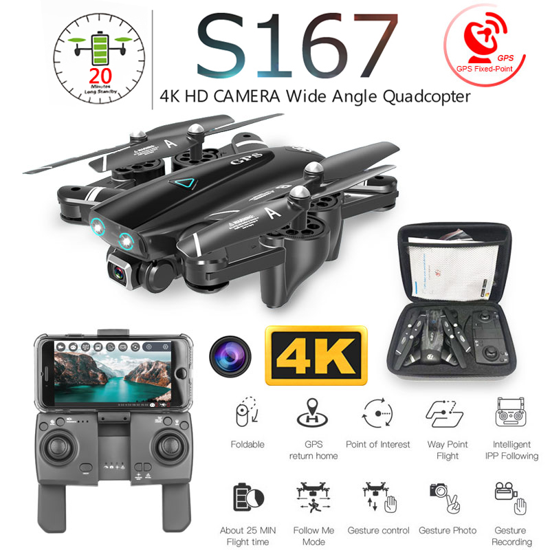 S167 Faltbare Profissional Drohne mit Kamera 4K HD Selfie 5G GPS WiFi FPV Weitwinkel RC Quadcopter Hubschrauber spielzeug E520S SG900-S