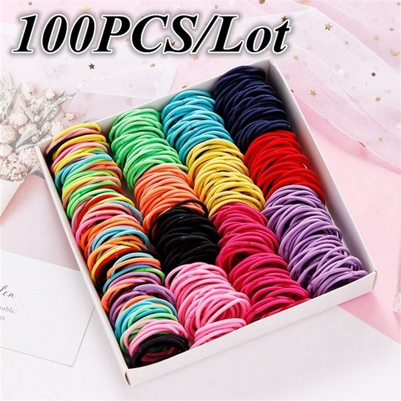 100PCS/Lot Children Ponytail Rubber Bands Hair Rope Baby Girls Elastic Hair Band Hair Ring Ponytail Holder Kids Hair Accessories