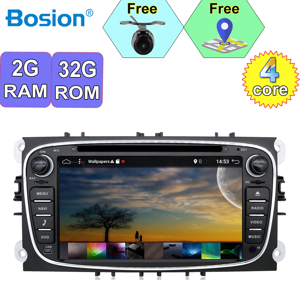 Bosion 2 Din Android 9.0 Car dvd <font><b>gps</b></font> player car stereo radio for <font><b>Ford</b></font> Mondeo <font><b>Focus</b></font> built in <font><b>GPS</b></font> +Wifi+Bluetooth+USB+SD image