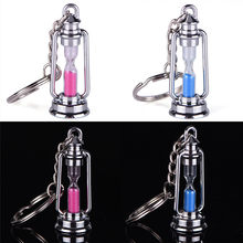 1 pair metal lamp shape hourglass Auto Key Chain ring keychain creative trinket novelty item best charm gift women men couple(China)