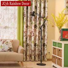 American Style Tropical Rainforest Plant Floral Stitching Curtains For Living Room Drapes  Window Treatments Shading 85% Blinds