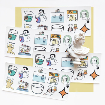 6pcs lot creative funny expression text pvc transparent korean stickers papers flakes kids decorative for cards stationery Ins Funny Girl Cute Stickers Reusable Waterproof PVC Sealing Post It Phone Suitcase Diy Creative Decorative Sticker Stationery