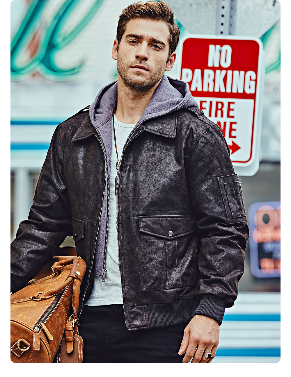 Hf905da247ba14571b510e641c276f6c1v FLAVOR New Men's Genuine Leather Bomber Jackets Removable Hood Men Air Forca Aviator winter coat Men Warm Real Leather Jacket