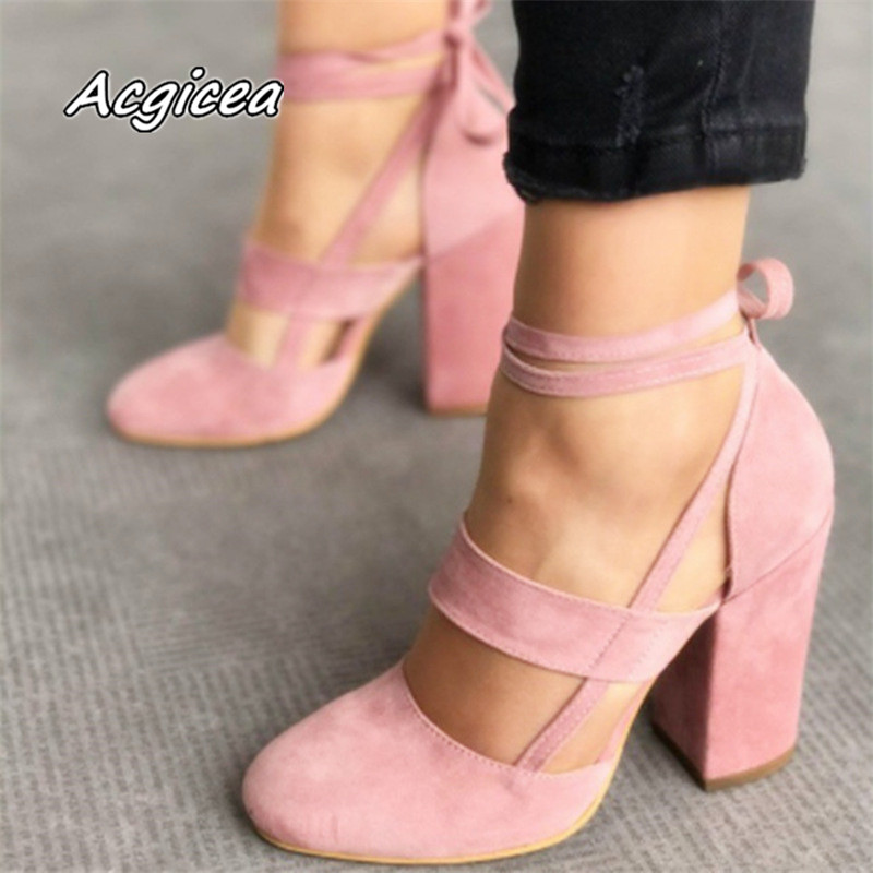 Plus Size Female Ankle Strap High Heels Flock Gladiator Shoes Lace Up Thick Heel Fashion Hollow Women Party Wedding Pumps F042