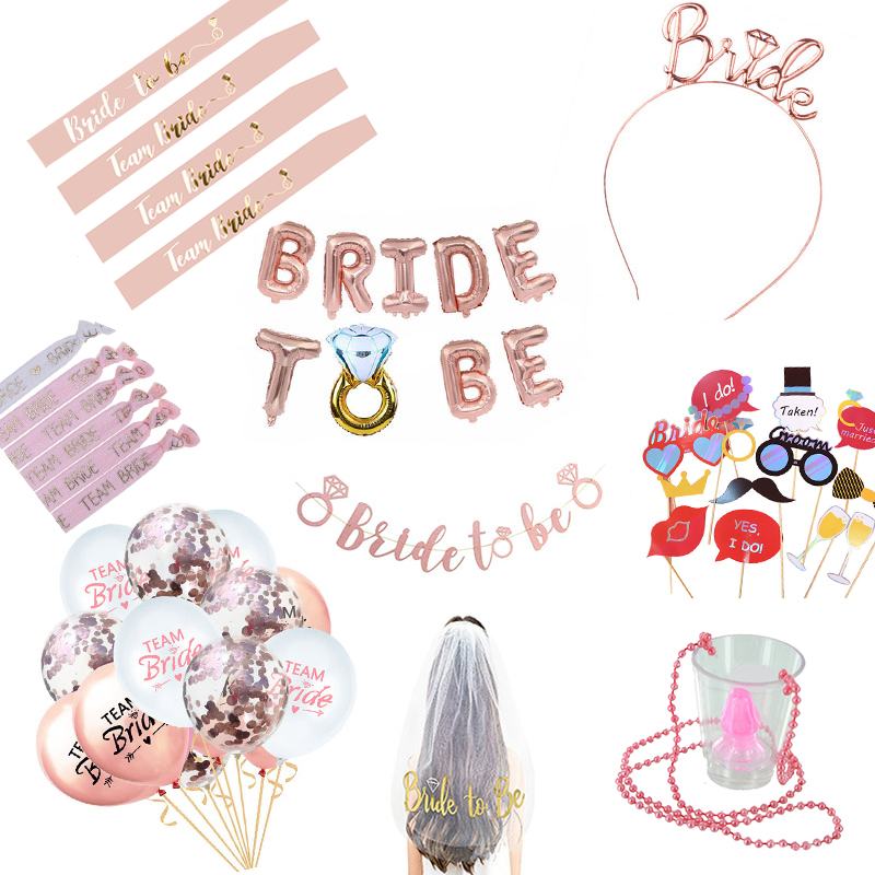 Bride To Be Sash Hen Party Decoration Glasses Team Bride Badge for Hen Party Wedding Bridal Shower Gold Letter HW67-in Party DIY Decorations from Home & Garden