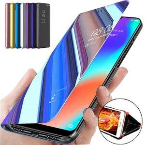 Image 1 - Smart Spiegel Flip Fall Für Samsung Galaxy S10 Lite S9 S8 S7 Rand A8 A9 A7 A5 A6 Plus 2018 a10 A20 A30 A40 A50 A80 A90 A70 Abdeckung