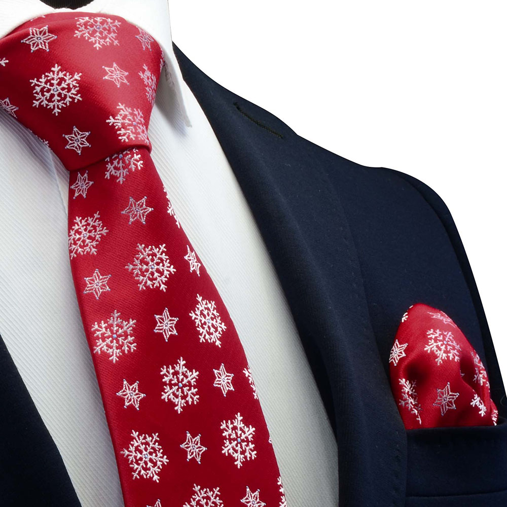 Ricnais 8cm Silk Christmas Men's Tie Set Red Green Santa Claus Animal Tree Juaquard Handkerchief Necktie Suit Party Neck Ties