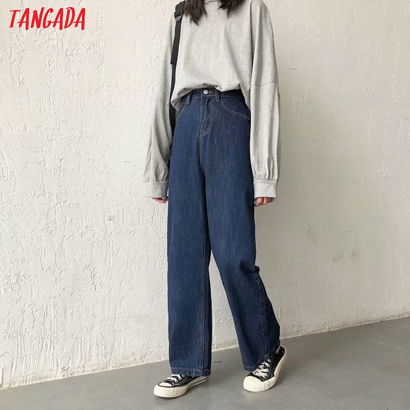 Tangada Fashion Women Loose Long Jeans Long Trousers School Style Loose Streetwear Female Dark Blue Denim Pants 7B04