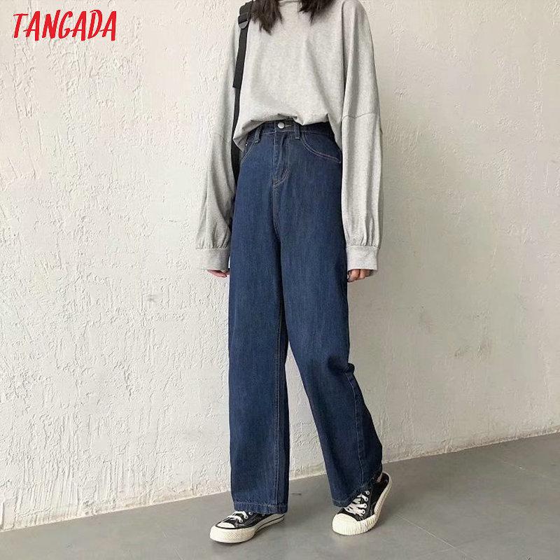 Tangada Fashion Women Loose Long Jeans Long Trousers School Style Loose Streetwear Female Dark Blue Denim Pants 7B04