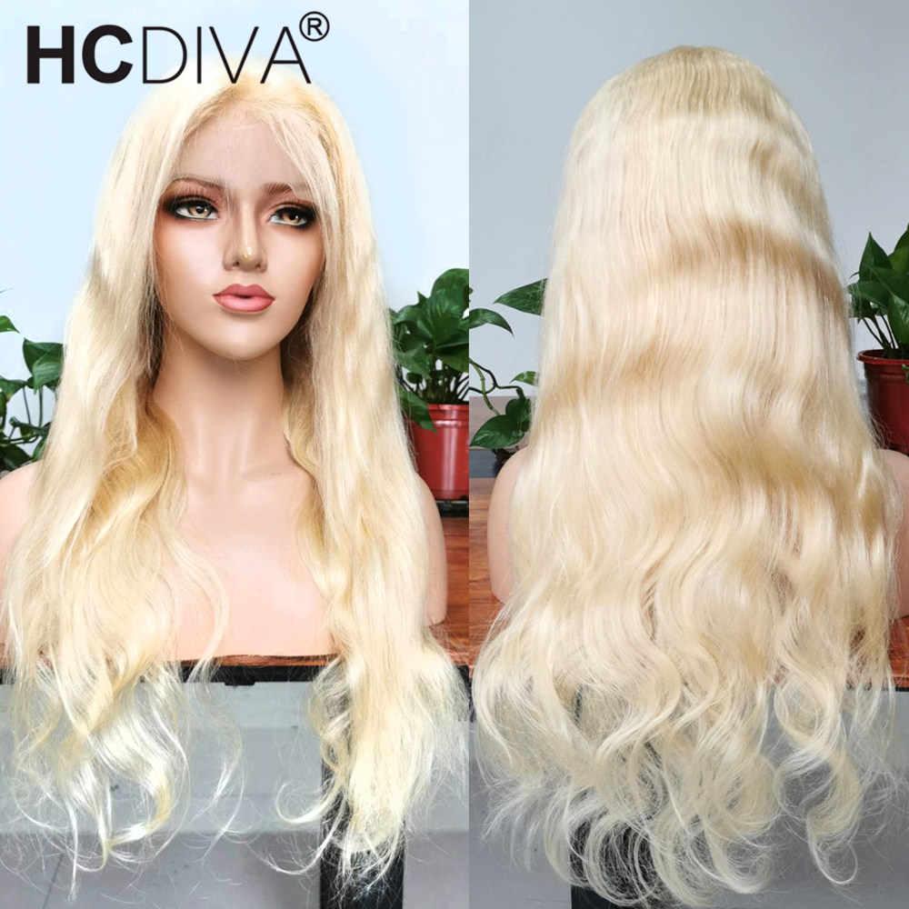 613 koronkowa peruka na przód przezroczysty 13x4 Remy Blond brazylijski ciało koronkowa fala przodu peruki z ludzkich włosów wstępnie oskubane 360 koronkowa peruka z przodu