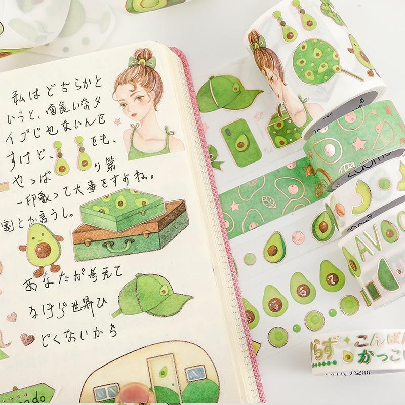 Avocado Girl Series Hot Gold Washi Tape Scrapbook DIY Masking Tape Label Sticker School Stationery Store Bullet Journal Supplies
