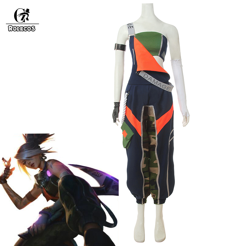 ROLECOS LOL True Damage Akali Cosplay Costume LOL Akali Cosplay Women Jumpsuit Overall Pants Playsuits Strap Trousers Tube Top