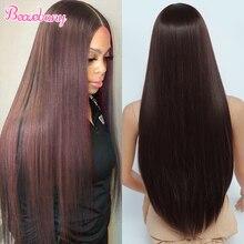 Beauebony-Peluca de cabello sintético para mujer, peluca con malla frontal, larga, color rojo borgoña, con encaje sintético, Natural