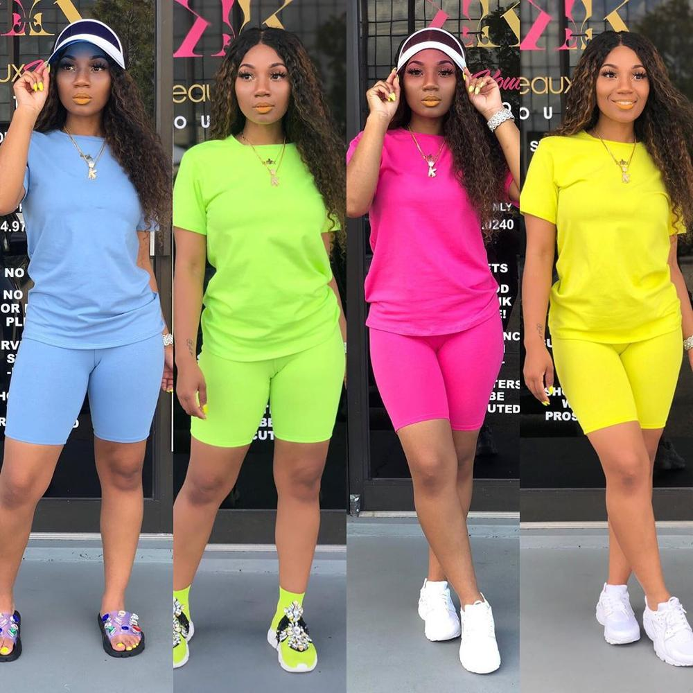 Two Piece Set Women Solid Sporting Casual Sports Suit Female 2 Piece Sets Womens Outfits Short Sleeve Tee + Pants Tracksuit Set