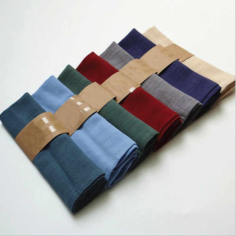Paño de lino y algodón para mesa, servilleta de poliéster, pañuelo para comedor, fiesta, Navidad, taza sólida, platos, servilletas, mesa decorativa, 1 ud.