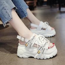 Лето 2020 коренастый сандалии женщин 8 см Клин высокие каблуки обувь женщина пряжки кожа свободного покроя тапочки женщины сандалии