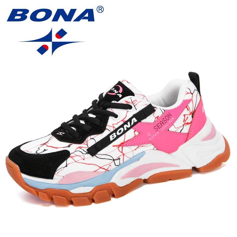 BONA 2020 nouveaux Designers maille respirant chaussures de course femmes en plein air marche chaussures femme mode baskets dames chaussures de jogging