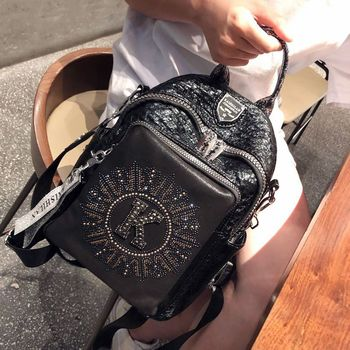 Fashion Hot Backpack Women Designer Small Black Rivet Leather Mini Backpacks for Travel School Bags Girls