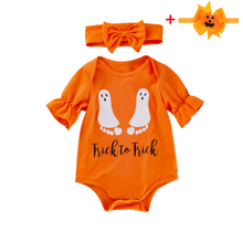 2019 Newborn Halloween Costumes Romper with Headband For Baby Girl Orange Short Sleeve Infant Halloween Outfit Set Child Clothes halloween black orange feather pettiskirt with sparkle spider web print orange long sleeve top with orange lacing mamw305