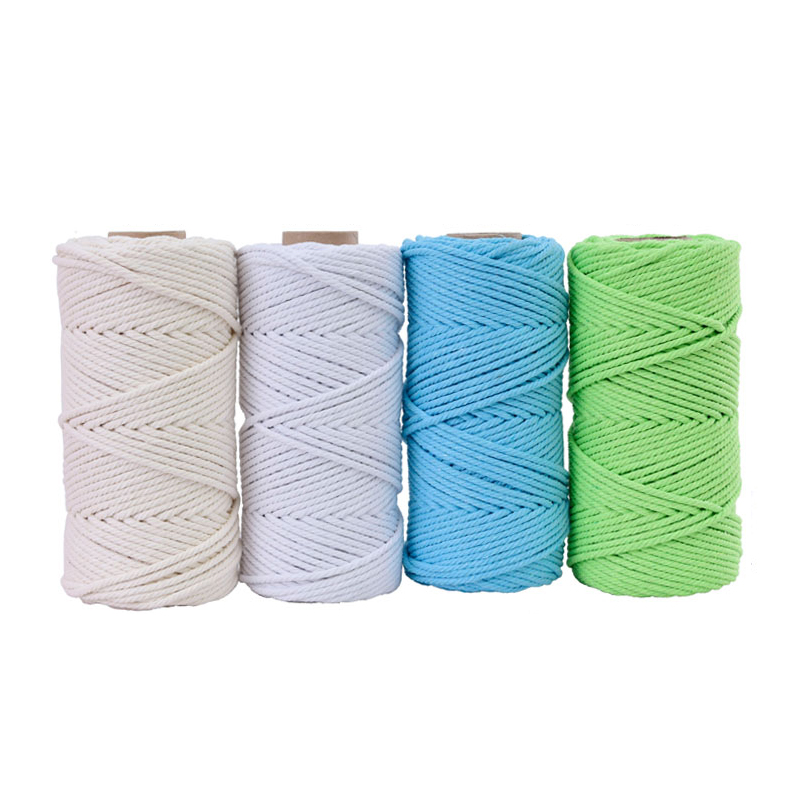 Image 2 - 4mmx110yards 100% Cotton Cord Colorful Rope Beige Twisted Craft Macrame String DIY Wedding Home Textile Decorative supply-in Cords from Home & Garden