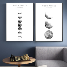 Moon Phase Posters And Prints Minimalist Art Poster Solar System Canvas Abstract Wall Pictures For Living Room Decor