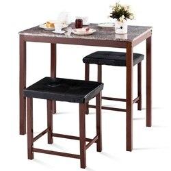 3 sztuk licznik wysokość Faux marmuru jadalnia zestaw stół i krzesło zestaw nowoczesne i ekskluzywne meble Backless tapicerowane stołki HW59350 -