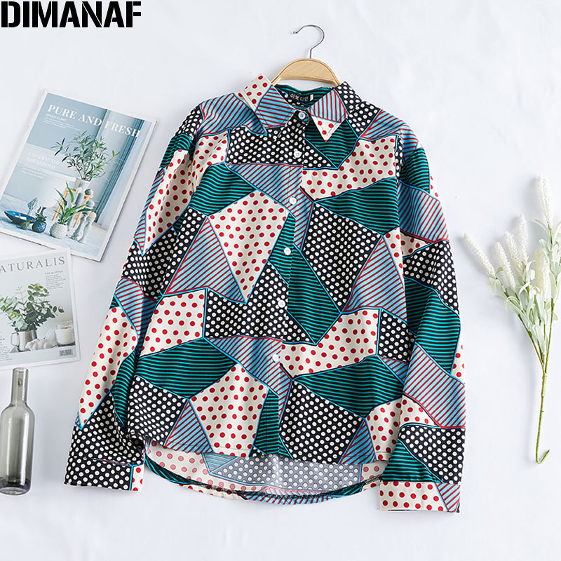 DIMANAF 2020 Plus Size Women Blouse Female Polka Dot Patchwork Plaid Long Sleeve Chiffon Show Thin Loose Fashion Tops XL-5XL