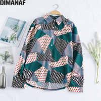DIMANAF 2020 Plus Size Women Blouse Female Polka Dot Patchwork Plaid Long Sleeve Chiffon Show Thin Loose Fashion Tops XL-5XL