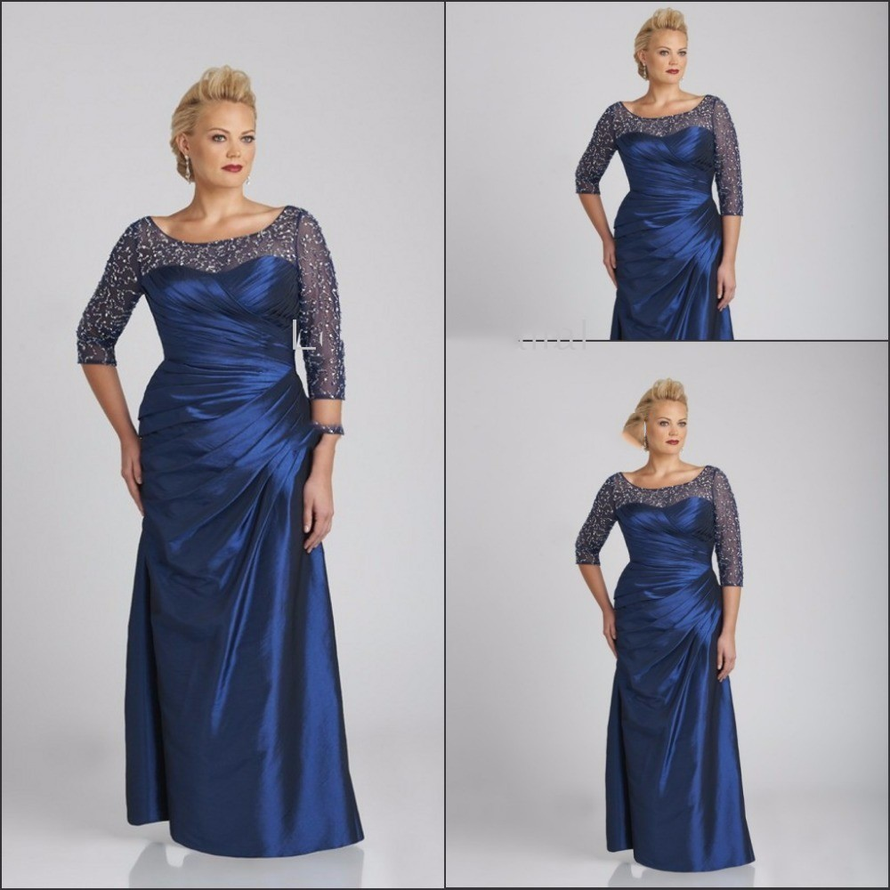 Navy Blue 2019 Mother Of The Bride Dresses Mermaid 3/4 Sleeves Beaded Plus Size Formal Groom Long Mother Dresses For Wedding