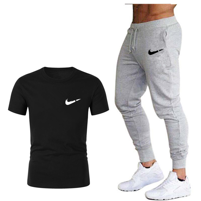 2019 Summer Sports Set Fashion Casual Short Sleeve O-Neck Men's Clothing Set 2 Piece T-Shirt + Pants Comfortable Cotton Set