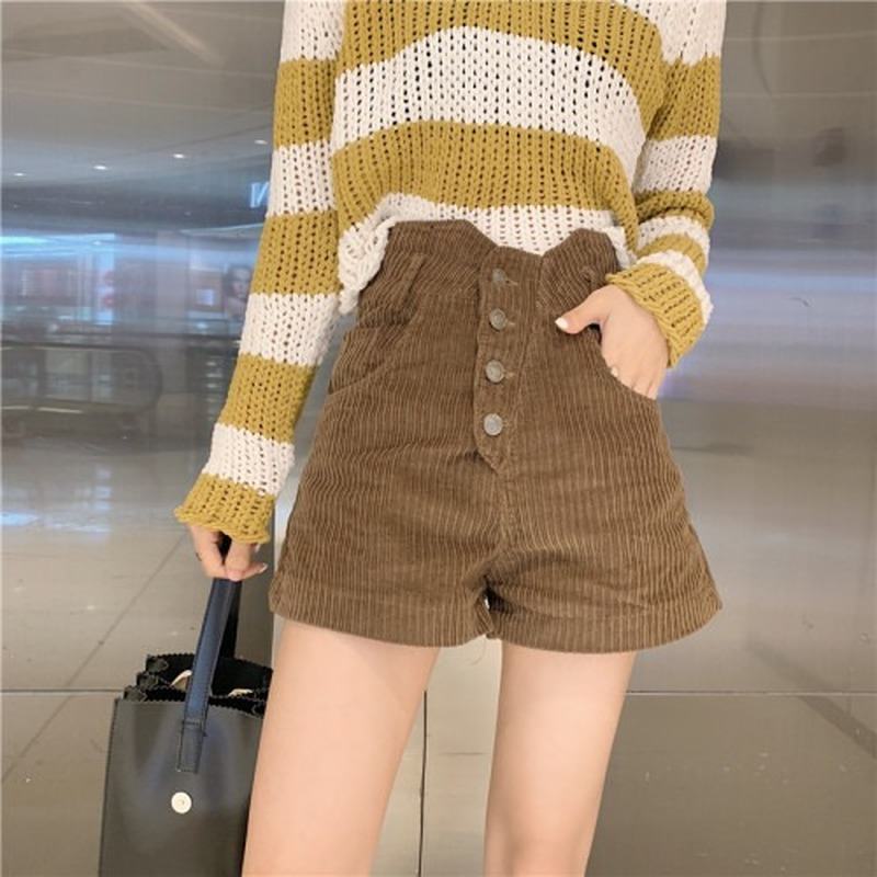 2020 Spring And Summer New Women's Office Lady Corduroy Shorts Fashion High Waist Wide Leg Shorts Female Bottoms Women Y007