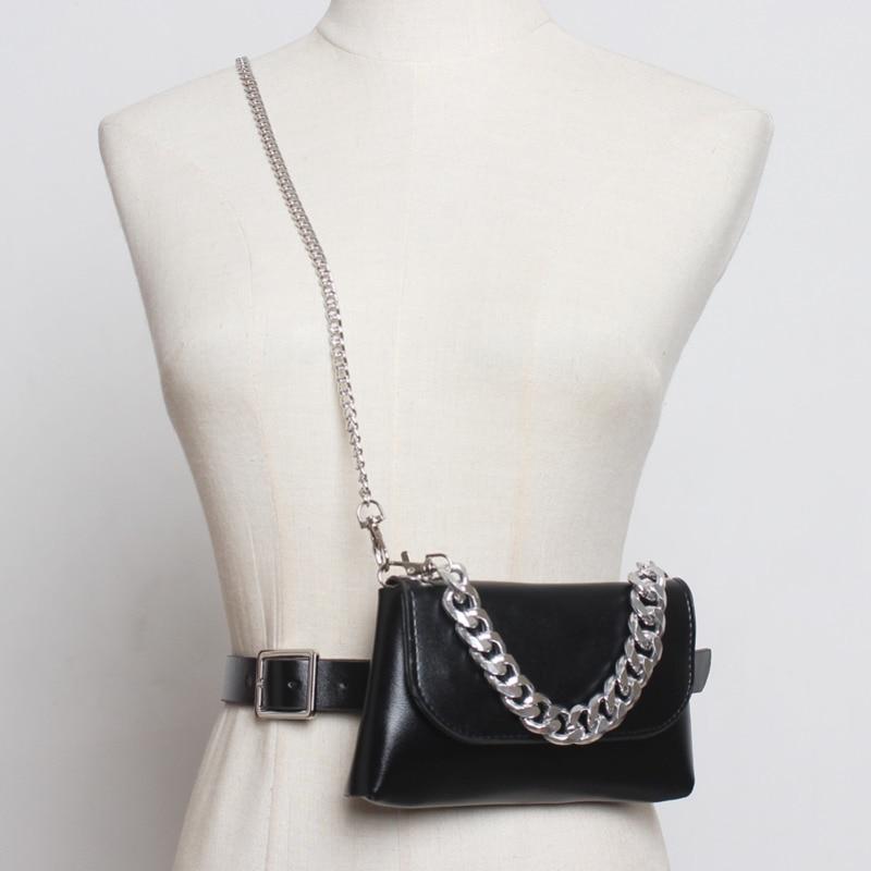 2020 New Design Belt Bags For Women Black Stylish Casual Messenger Bag Female Trendy Chain Bag High Fashion Tide Waist Bag ZK588