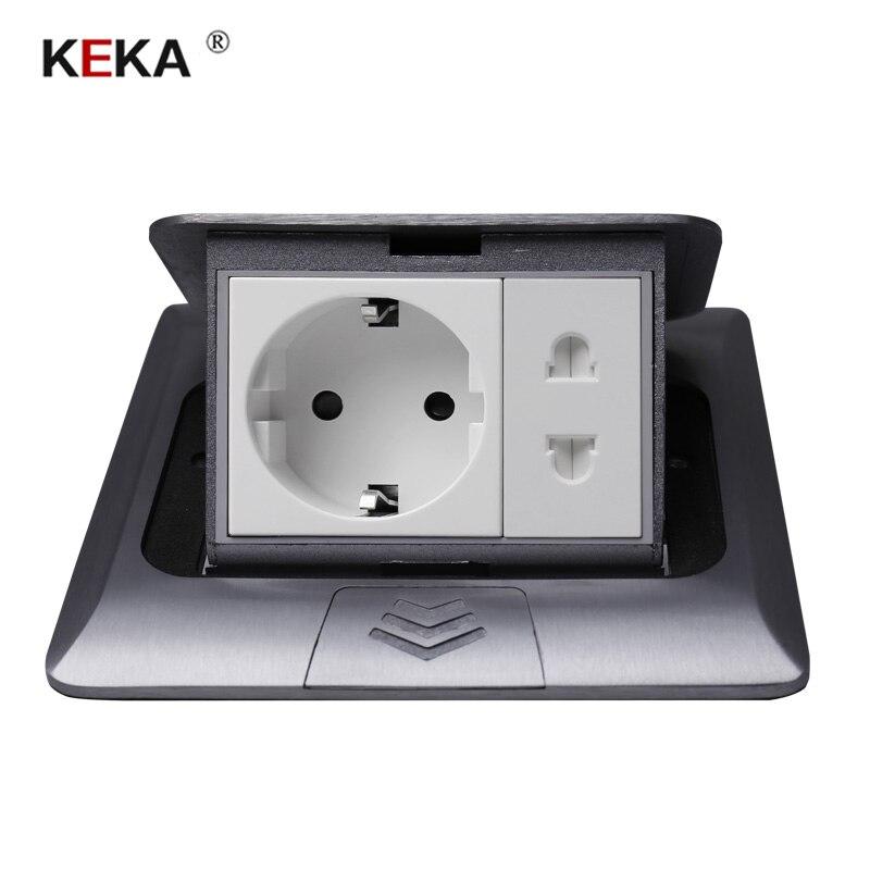 KEKA All Aluminum Silver Panel 16A EU Standard Table Socket + Universal 2 Hole Pop Up Floor Socket Power Outlet