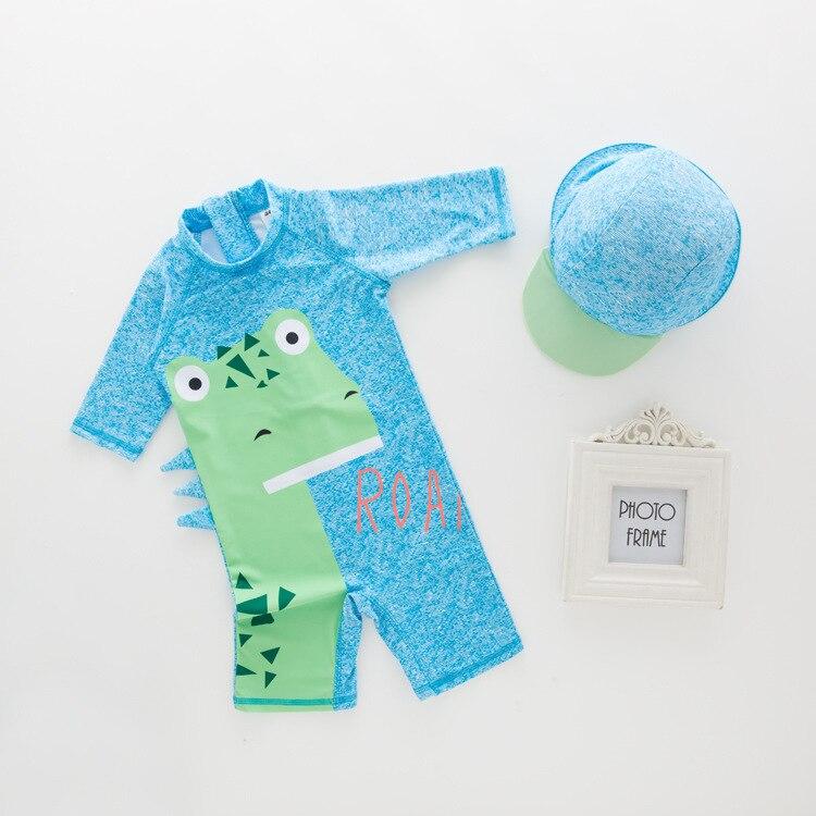 Men's One-piece Swimming Suit Blue Dinosaur-KID'S Swimwear Hot Springs Clothing