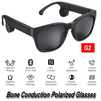 G2 Bone Conduction Bluetooth 5.0 Sunglasses Open-Ear Headset Polarized Eyeglasses Wireless Glasses