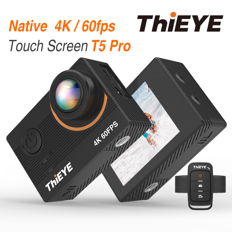 ThiEYE T5 Pro With Live Stream WiFi Action Camera Real 4K Ultra HD Sport Cam with EIS Distortion Remote Control 60M Waterproof-in Sports & Action Video Camera from Consumer Electronics