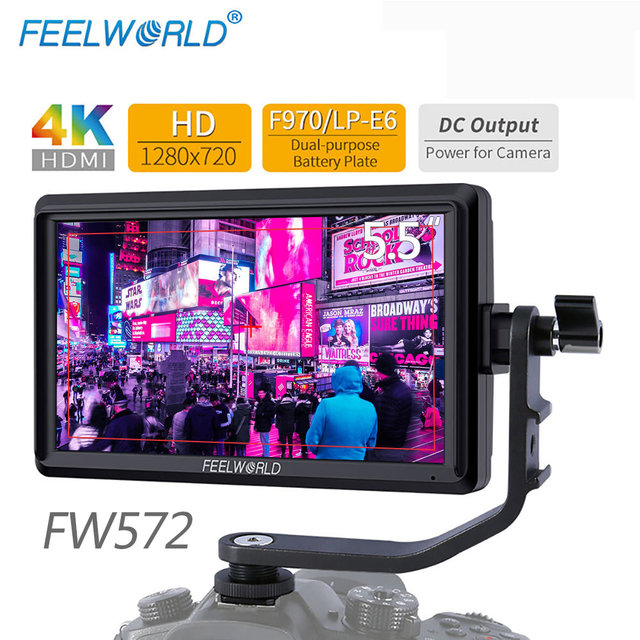 FEELWORLD FW572 5.5 inch DSLR Camera Monitor 4K HDMI LCD IPS HD 1280x720 Display Field Monitor for Cameras Shooting Filmmaking
