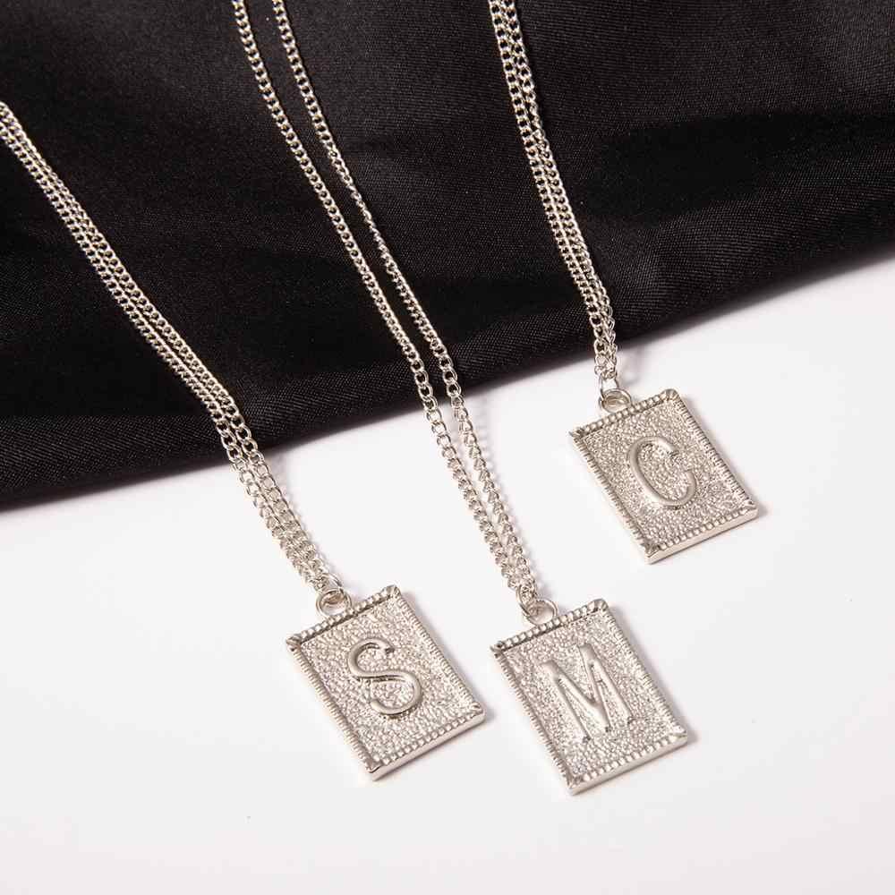 IngeSight。Z パーソナライズ A-Z 26 アルファベット頭文字ロングネックレスシンプルなミニマ正方形ペンダントネックレス女性ジュエリー